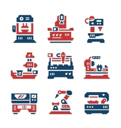 Set color icons of machine tool vector image
