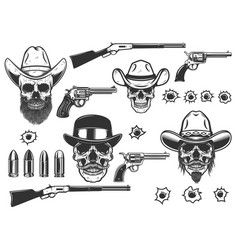 set cowboy skulls and weapon in monochrome vector image