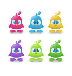 set funny bird characters vector image
