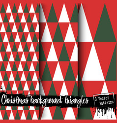 set of christmas backgrounds from triangles vector image