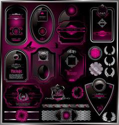 Set vintage framed black and purple labels vector