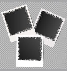 Set winter white photo frames with shadows vector