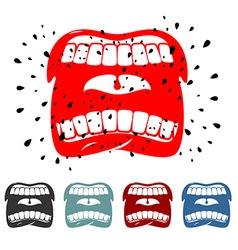 Shout angry face emotion Screaming mouth with vector image