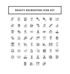 Spa salon icons set set recreation wellness vector