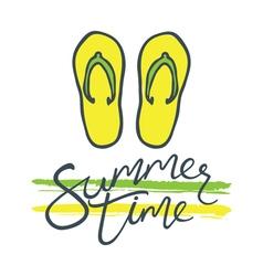 summer time flip flops green yellow vector image