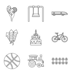 Summer toy icons set outline style vector