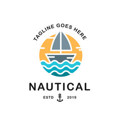 summer travel design - sail boat nautical logo vector image