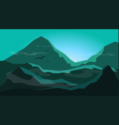Sunrise between mountain with fogsilhouette flat vector