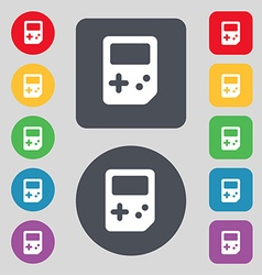 Tetris icon sign A set of 12 colored buttons Flat vector image