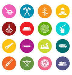 timber industry icons many colors set vector image