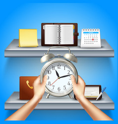 time management realistic 3d composition vector image