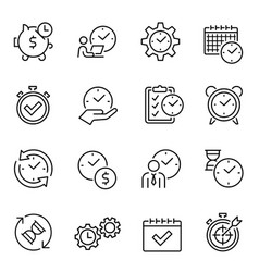 Time management thin line contour icons set vector
