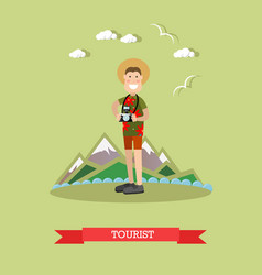 tourist with camera in flat vector image