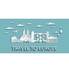 Travel to Europe concept cityscape silhouettes vector image