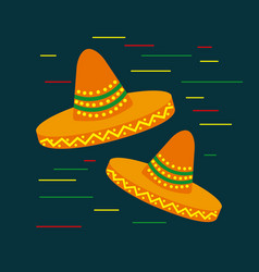 Two colored cartoon hat national mexican clothing vector