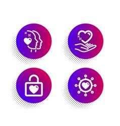 Wedding locker heart and hold heart icons set vector