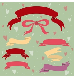 Wedding ribbons set hearts and bow vector image