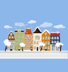 Winter flat city landscape with european building vector