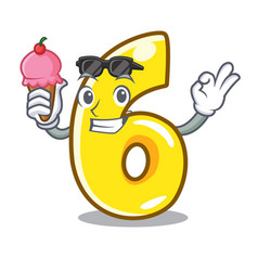 With ice cream cartoon number six on the road vector