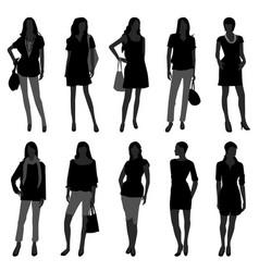 Woman female girl fashion shopping model a set vector