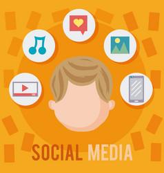 young man and social media vector image