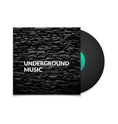 Black vintage vinyl record and black underground vector