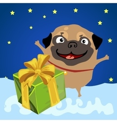 Christmas present from the happy pug vector image vector image