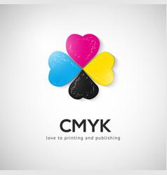 cmyk quatrefoil emblem vector image