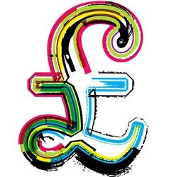 Colorful Grunge pound symbol vector image