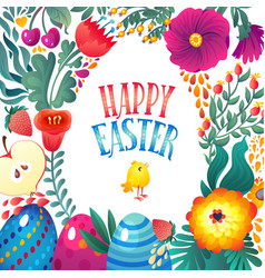 happy easter greeting card little chicken and vector image