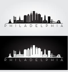 philadelphia usa skyline and landmarks silhouette vector image vector image