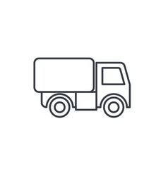 Truck cab van body container thin line icon vector