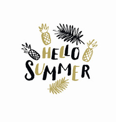 hello summer modern hand drawn lettering phrase vector image vector image