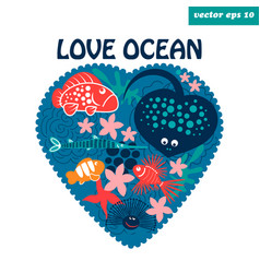 love ocean vector image