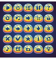 Set honeyed buttons for web video game in style vector image