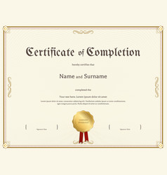 Certificate of completion template in vintage vector