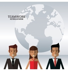 Character people teamwork globe work vector