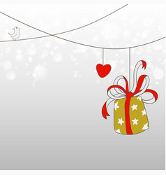 doodles fun card design with love and gift vector image