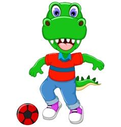 funny dinosaur cartoon playing football vector image vector image