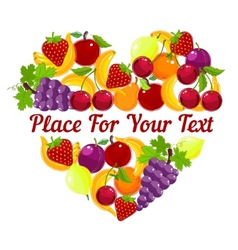 Heart shape from fresh fruit with copyspace vector image