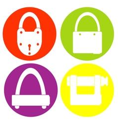 monochrome icon set with lock vector image vector image