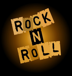 rock and roll inscription on paper on a brownish vector image vector image