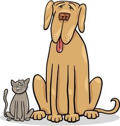 small cat and big dog cartoon vector image vector image