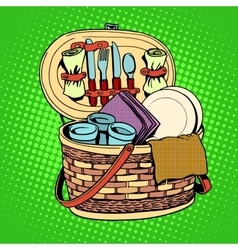 The Breakfast picnic basket nature vector image