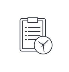 clipboard and clock to-do list thin line icon vector image vector image