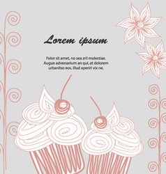 Cupcake postcard Doodle style vector image vector image