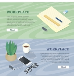 Desk with Mobile Phone Glasses Plant Flash Drive vector image
