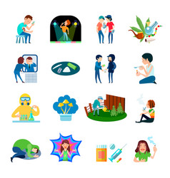 Drug abuse icons collection vector