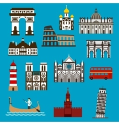European landmarks and buuildings flat icons vector image vector image