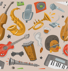 jazz musical instruments tools jazzband music vector image